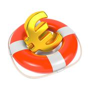 Euro Sign in Red Lifebuoy. Isolated on White. - stock illustration