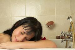 woman in the bath - stock photo