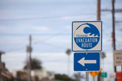 Tsunami evacuation sign Stock Photos