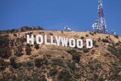hollywood sign on the hill - stock photo