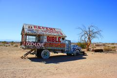 Stock Photo of Salvation Mountain Bible truck