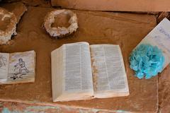 Salvation Mountain open Bible - stock photo