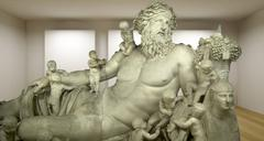 Zeus, empty gallery, 3d room with greek sculture, ancient statue Stock Illustration