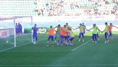Football team training on stadium. Soccer league, championship. Stock Footage