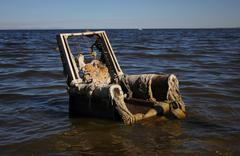 Salton Sea dead chair Stock Photos