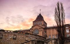 National Museum in Szczecin at sunset - stock photo