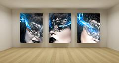 business room, 3d art with empty space, three green chroma key frames - stock illustration