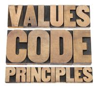 values, code, principles - stock photo