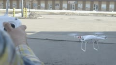 Controlling a RC Drone at Mid flight Stock Footage