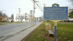 Schoharie Town/Road Sign Stock Footage