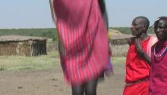 Maasai warriors chanting & dancing -  part 2 Stock Footage