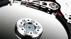 Hard drive isolated on white Stock Footage