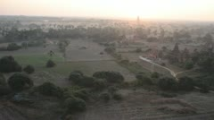 Aereal View of Burma Landscape with Temples and Stupa from Hot Air Balloon Stock Footage