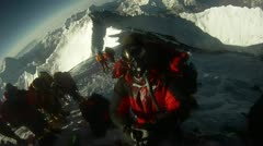 Climber does 180 on top of Everest - stock footage