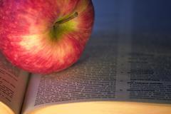 Aplle on a book, education concept Stock Photos
