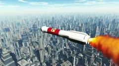 Nuclear Rocket Hits Metropolis 1 720 - stock footage