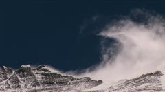 Wind rolling off Everest summit, big snow plume - stock footage