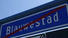 Dutch road sign meaning end of built-up area municipality Blauwestad Stock Footage