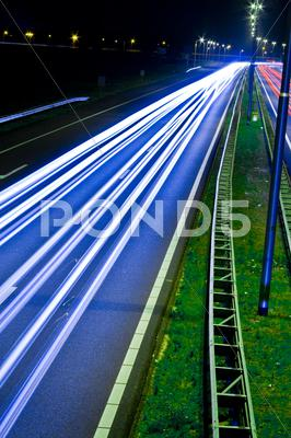 Stock photo of highway at night