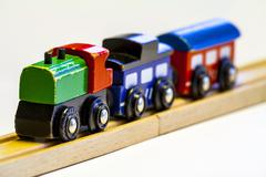 Old wooden toy train Stock Photos