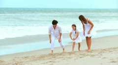 Laughing Caucasian Family Playing Games Beach Stock Footage