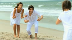 Caucasian Family Fun Vacation  on Beach Stock Footage