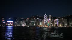 Hong Kong Skyline Night Lights Show Spectacle Stock Footage