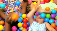 Young Childhood Friends in Ball Pool Stock Footage