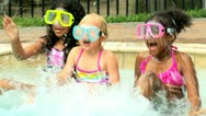 Children Masks Snorkel Outdoor Swimming Pool Stock Footage