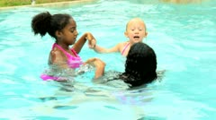 Cute Little Friends Healthy Swimming Lifestyle Stock Footage