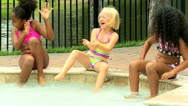 Cute Multi Ethnic Friends Outdoor Pool Stock Footage