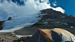 Aconcagua Time Lapse with racing clouds at camp Stock Footage
