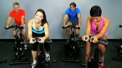 Multi Ethnic Gym Members Working Out Stock Footage