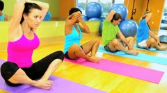 Female Instructor Taking Exercise Class Stock Footage