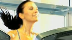 Caucasian Female Exercising Health Club Stock Footage