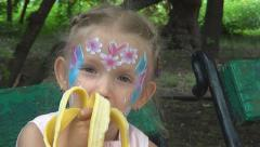 Child Eating a Banana Fruit, Girl Eating Healthy Food, Children Stock Footage