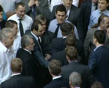 brawl in parliament - stock footage