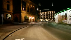 Nighttraffic in front of theatre - stock footage