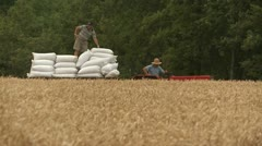 INDS-0011 Truck transporting bags from harvest Stock Footage