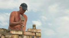 Roofing work - brickwork - stock footage