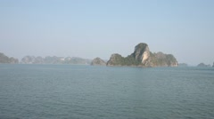 Junk Boat Ride View of Nature Scenery in Halong Bay Vietnam Stock Footage