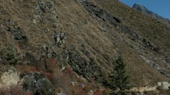 Pan of trail leading to Dingboche stupa Stock Footage