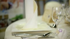 Wedding table  with glass sliding over in close up Stock Footage