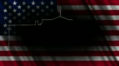 White House with USA flag 03 handdraw 720 Stock Footage