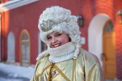 A girl dressed as the queen russia Stock Photos