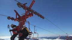 People Riding with Chairlift in Alps, Alpine View, Winter Sports, Skiing Slope Stock Footage