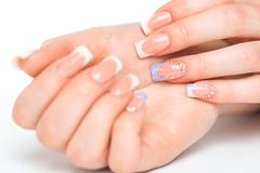 Beautiful female hands with french manicure Stock Photos