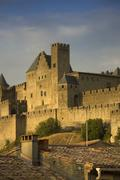 Golden evening at Carcassonne, France - stock photo
