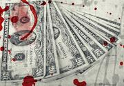 Blood money, us dollars ,artistic processed and toned photo Stock Illustration