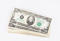 Stack og dollars bills studio isolated on white Stock Photos